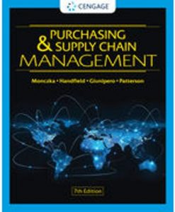 Test Bank for Purchasing and Supply Chain Management 7th Edition Monczka